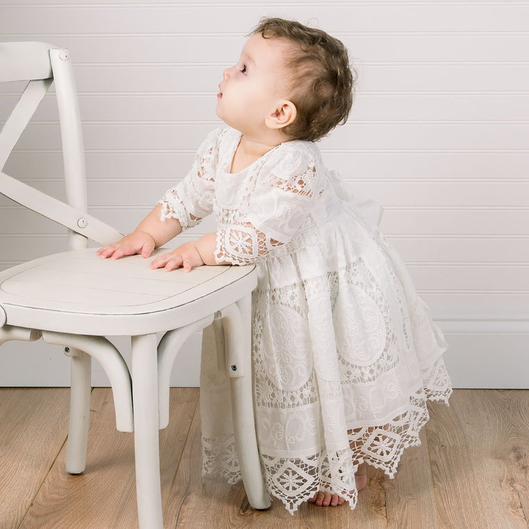 Adeline Lace Christening Dress & Bloomers *LIMITED STOCK*