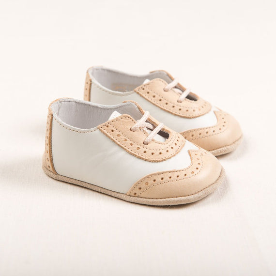 Boys Beige & Ivory Wingtip Shoes - Boys Shoes