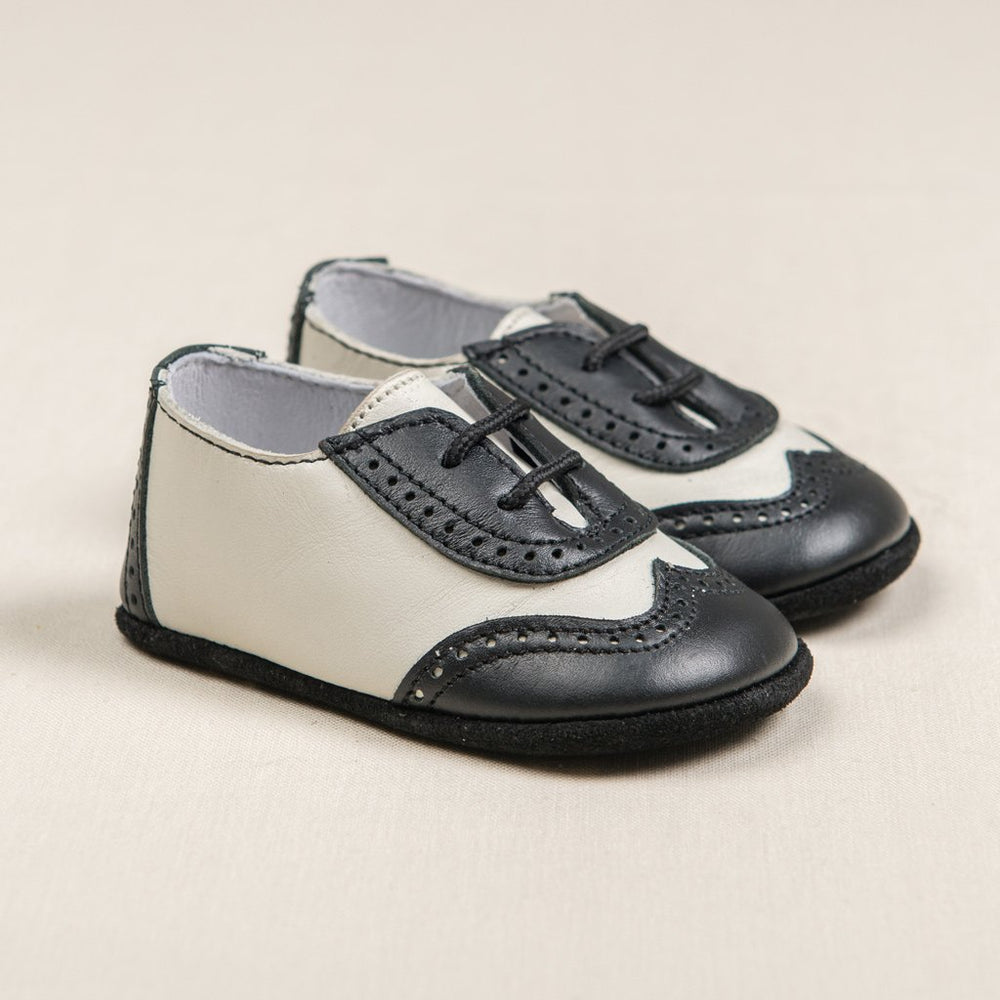 Boys Black & Ivory Wingtip Shoes - Boys Shoes