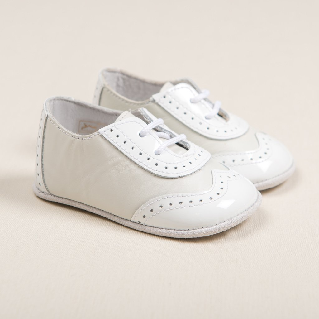 Boys Ivory Two Tone Wingtip Shoes - Boys Shoes