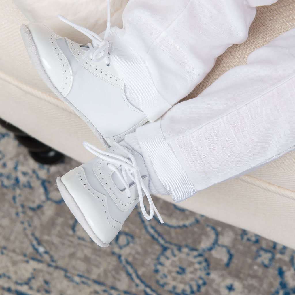 Boys White On White Wingtip Shoes - Boys Shoes