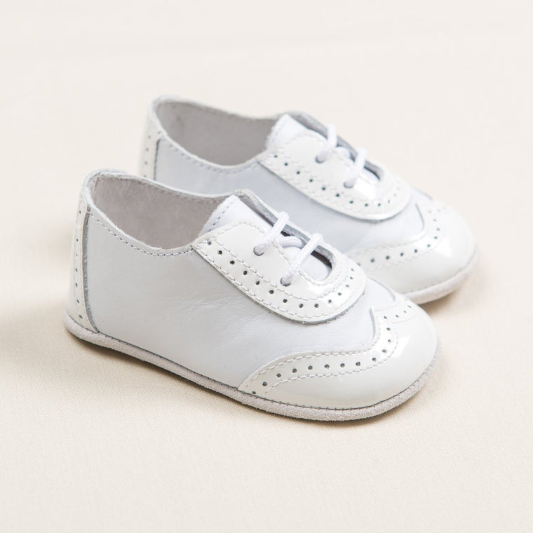 Boys White On White Wingtip Shoes