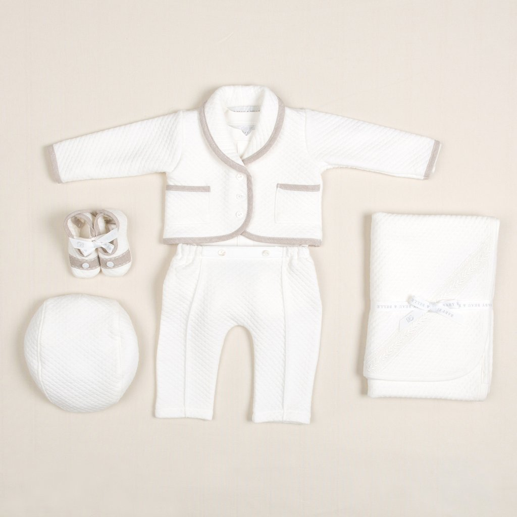 Braden Quilted Newborn 3-Piece Suit - Boys Christening Suit