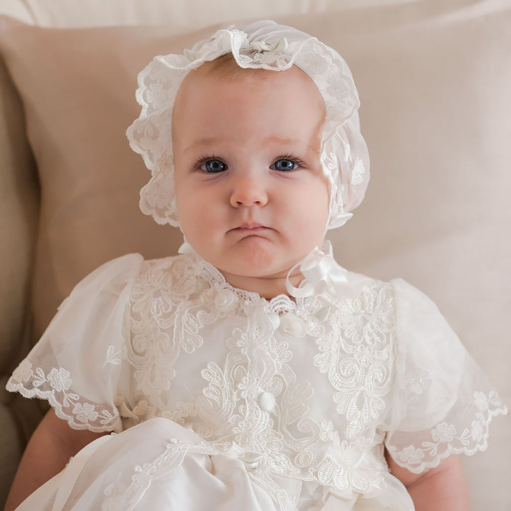 Caroline Christening Gown & Bonnet (3-6 months Only) - Girls Christening Gown