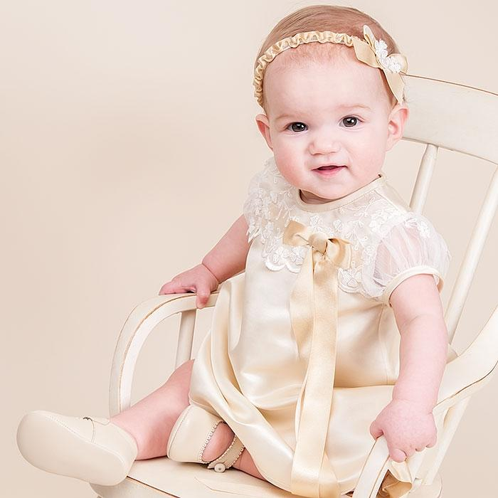 Caroline Silk Dress, Bloomer, & Headband - Girls Christening Dress