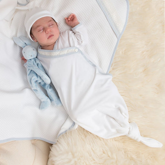 Charlie Newborn Knot Christening Gown & Hat - Boys Layette Gown