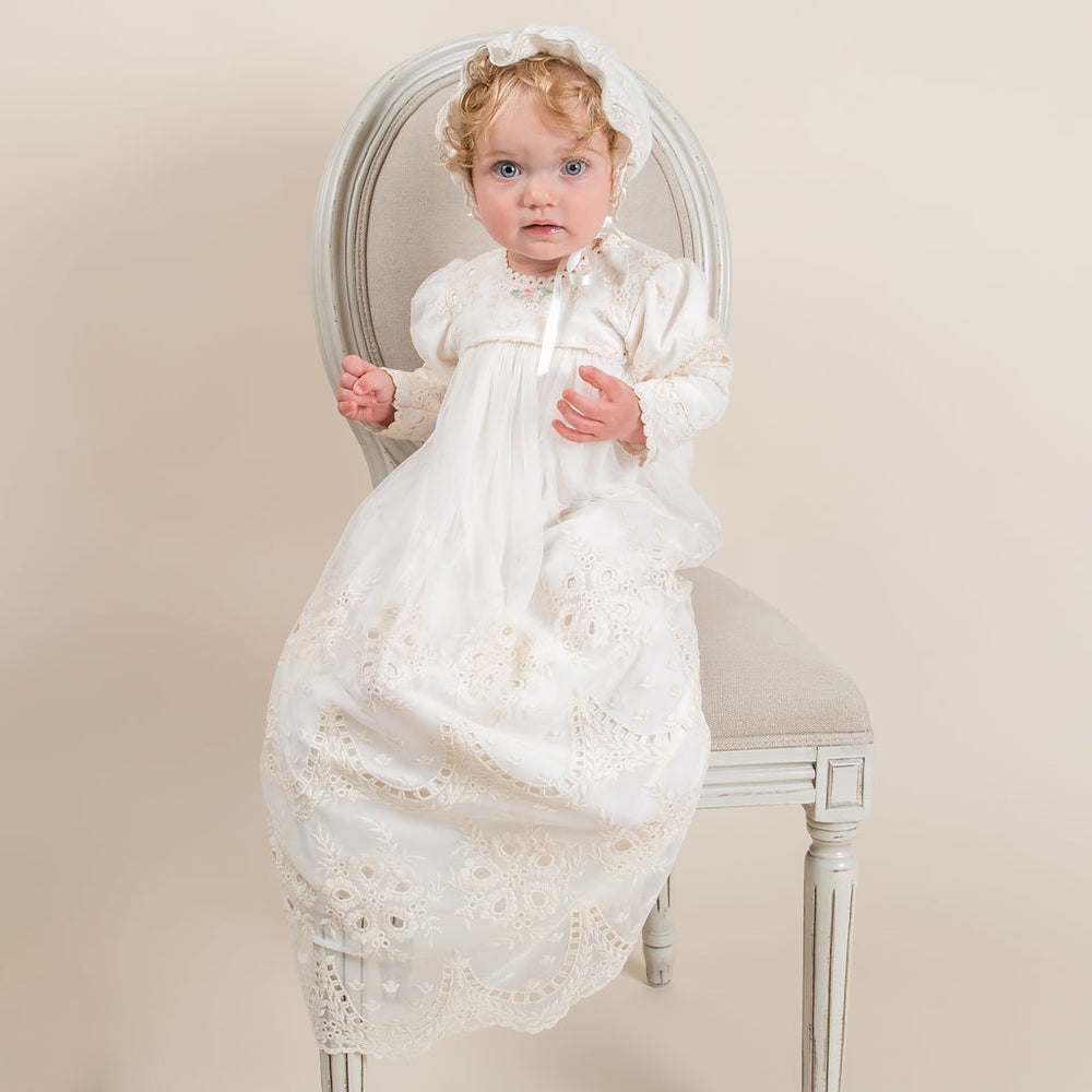 Clementine Long Sleeve Christening Gown & Bonnet - Girls Christening Gown