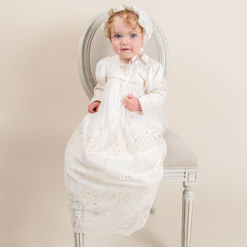 Clementine Long Sleeve Christening Gown & Bonnet