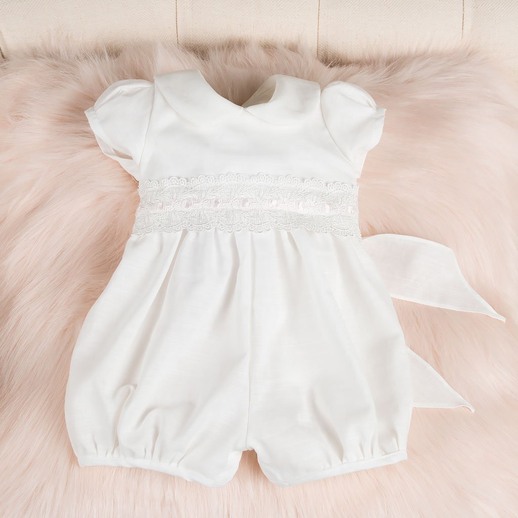 Emma Christening Bubble Romper - Girls Christening Jumpsuit