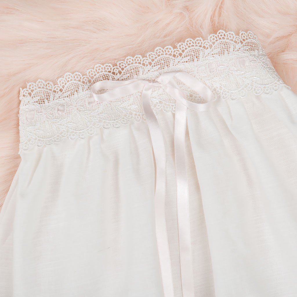 Emma Convertible Christening Gown Skirt & Romper Set - Girls Cotton Christening Gown