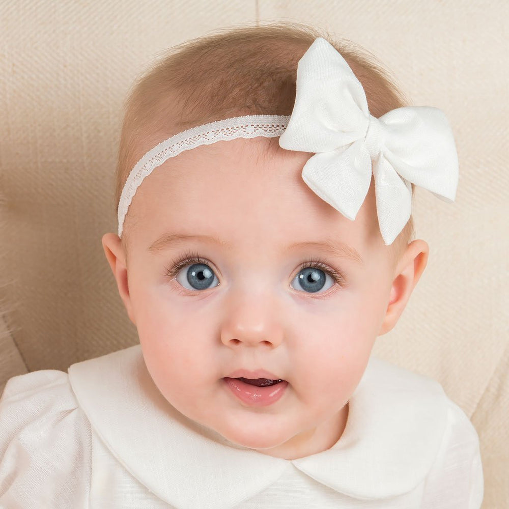 Emma Linen Bow Christening Headband