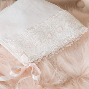 Emma Linen Christening Bonnet - Girls Bonnet