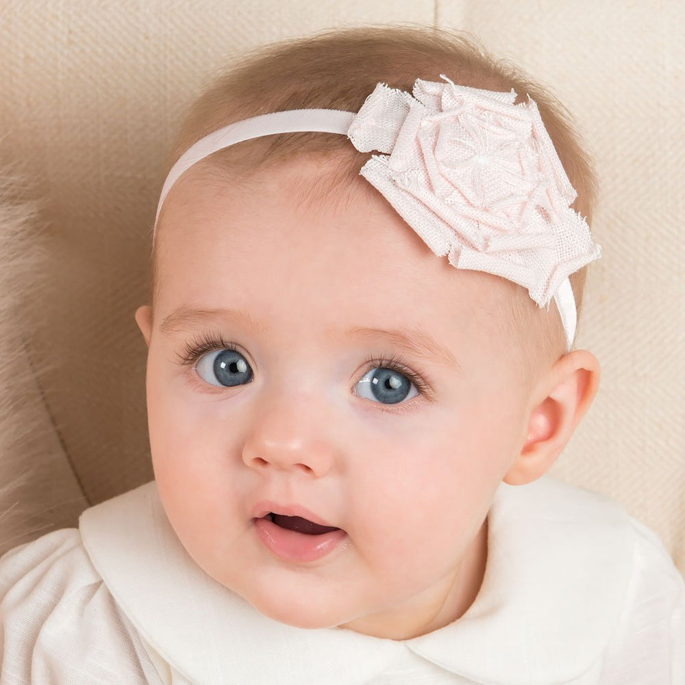 Emma Linen Rose Christening Headband
