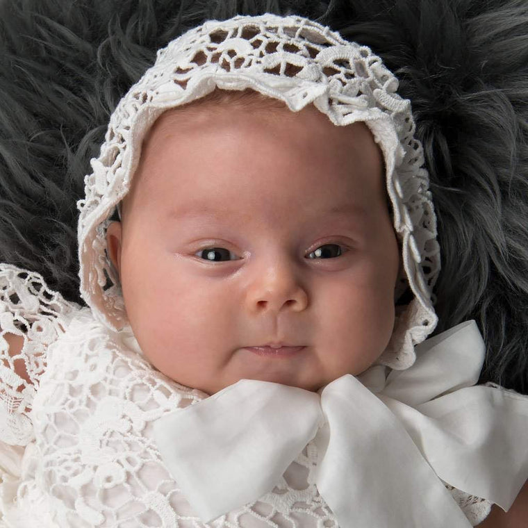 Grace Newborn Christening Gown & Bonnet - Girls Christening Gown