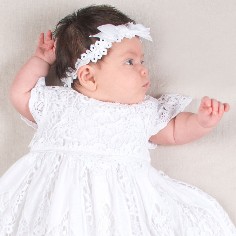 Grace White Christening Headband