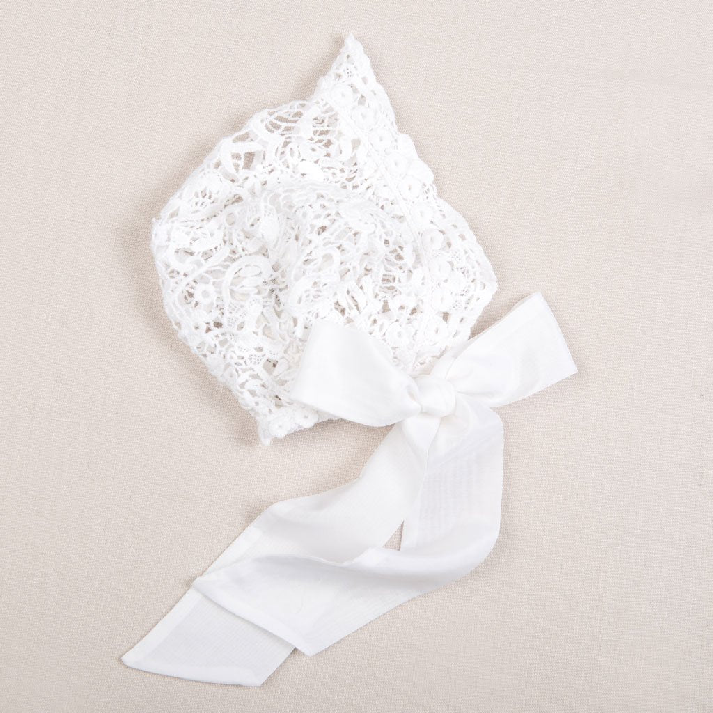 Grace White Lace Christening Bonnet - Girls Christening Bonnet