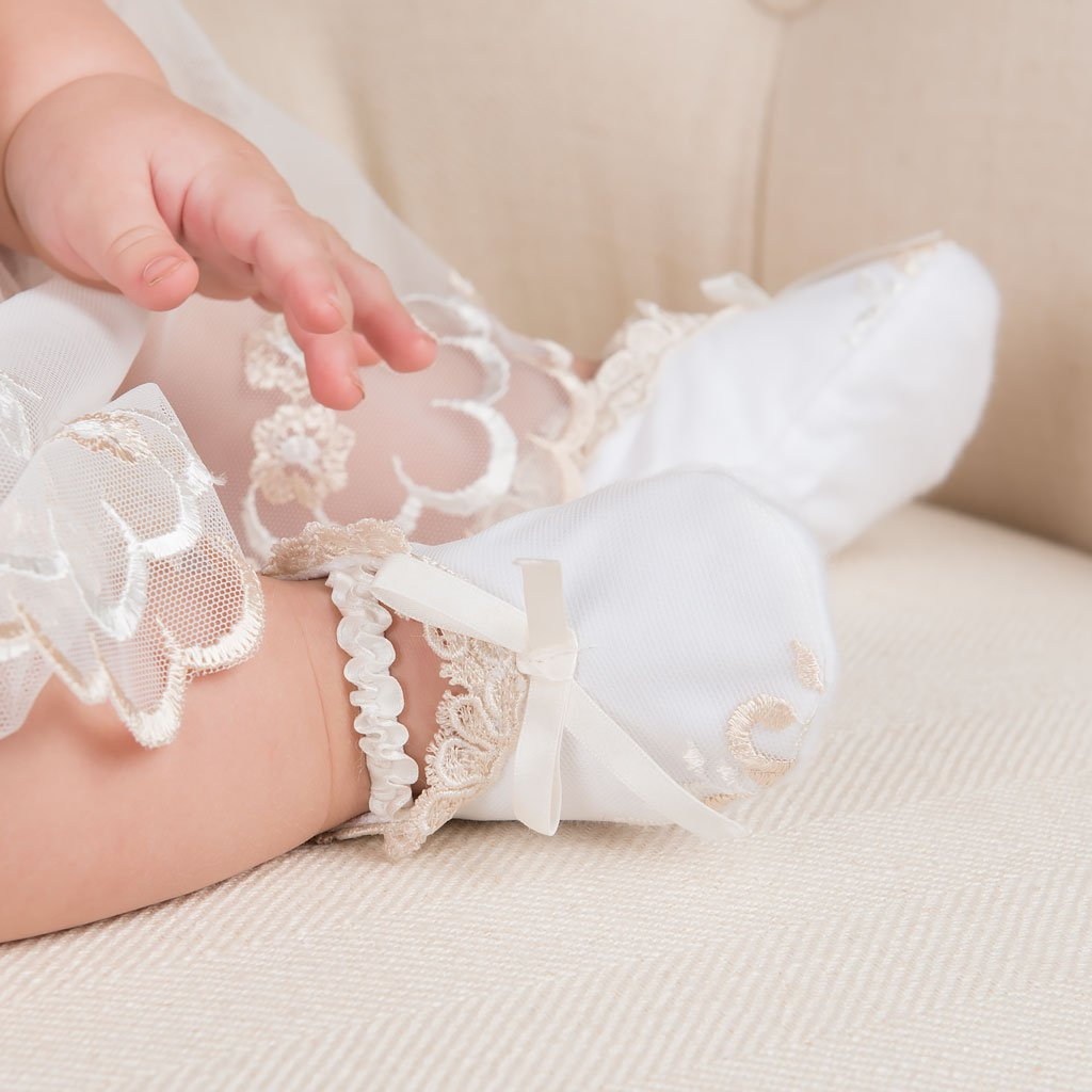 Gwen Christening Booties - GIrls Booties