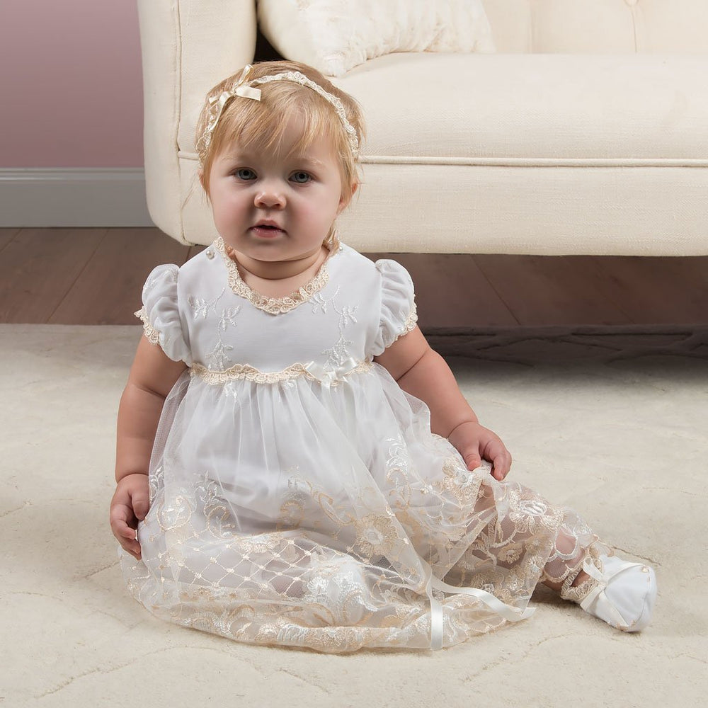 Gwen Christening Romper Dress - Girls Christening Dress