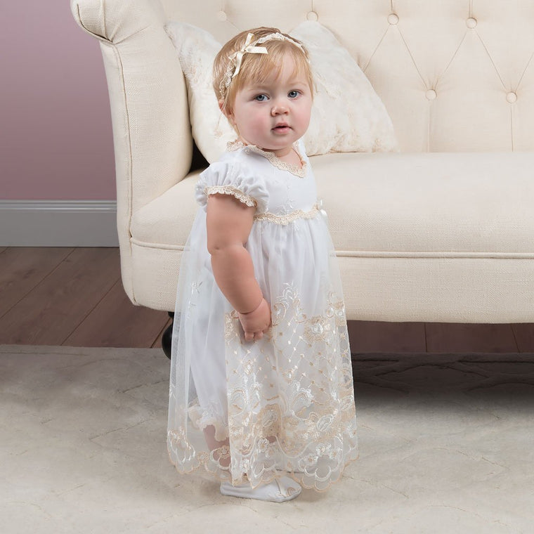Gwen Christening Romper Dress