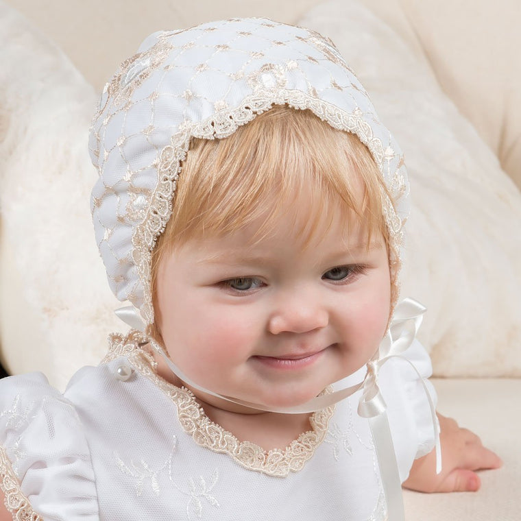 Gwen Fitted Christening Bonnet - Girls Bonnet