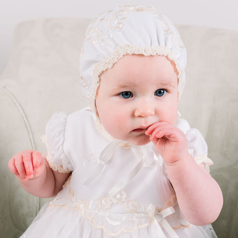 Gwen Fitted Christening Bonnet