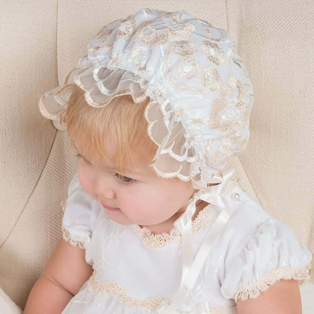 Gwen Lace Christening Bonnet - Girls Bonnet