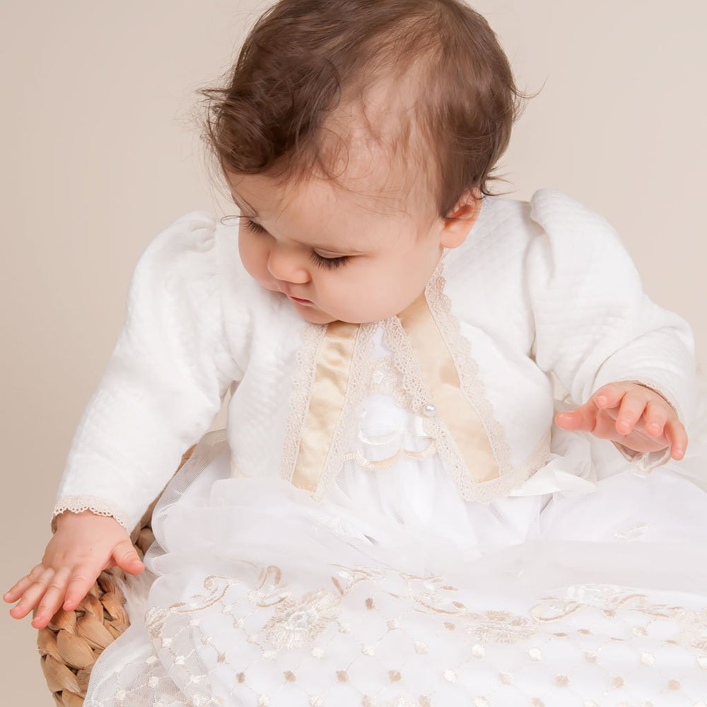 Gwen Quilted Christening Sweater
