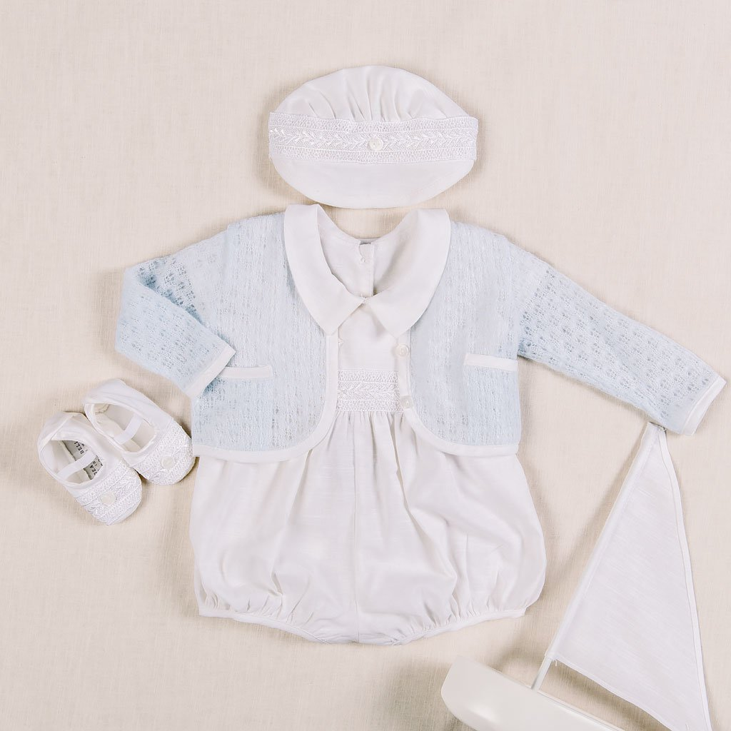 Henry Blue Knit Christening Sweater - Boys Sweater