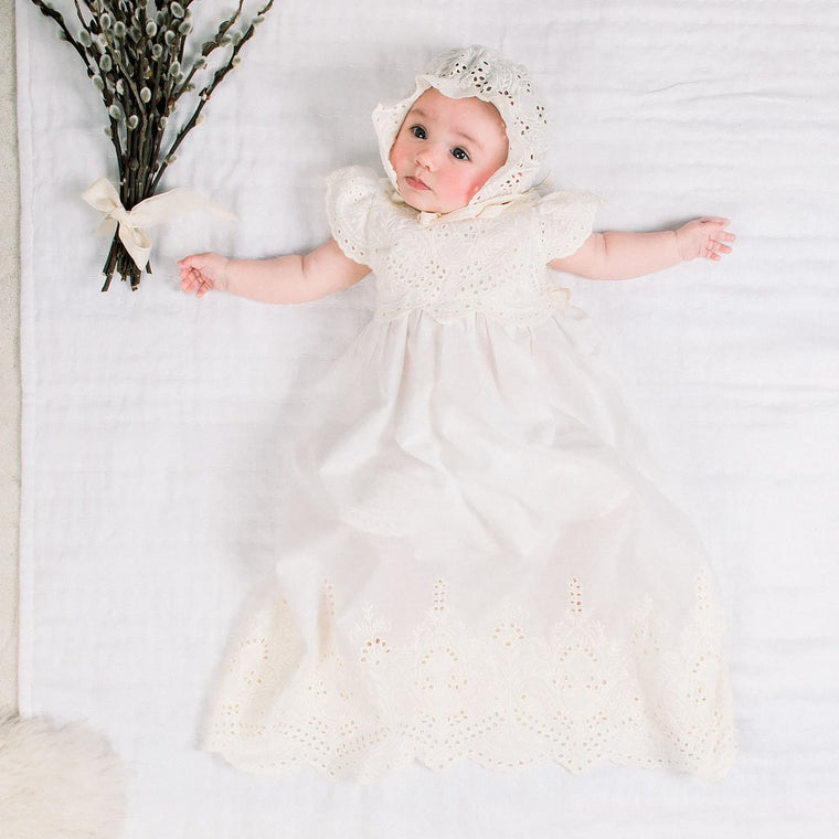 Ingrid Christening Gown, Bloomer & Bonnet Set -
