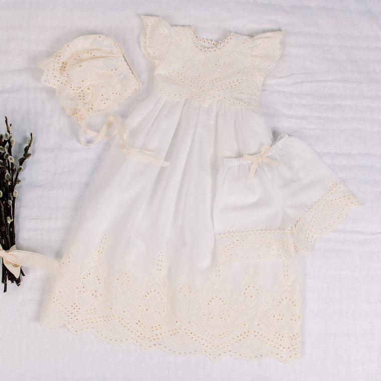 Ingrid Christening Gown, Bloomer & Bonnet Set