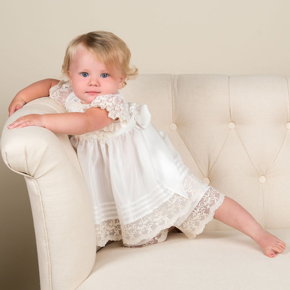 Jessica Silk Christening Dress, Bloomers & Silk Bonnet