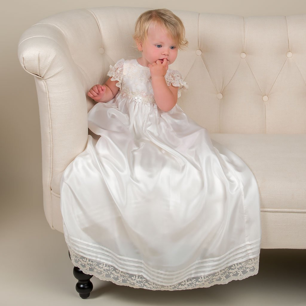 Jessica Silk Christening Gown, Bonnet, & Bloomers - Girls Christening Gown