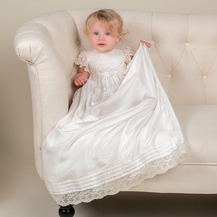 Jessica Silk Christening Gown, Bonnet, & Bloomers
