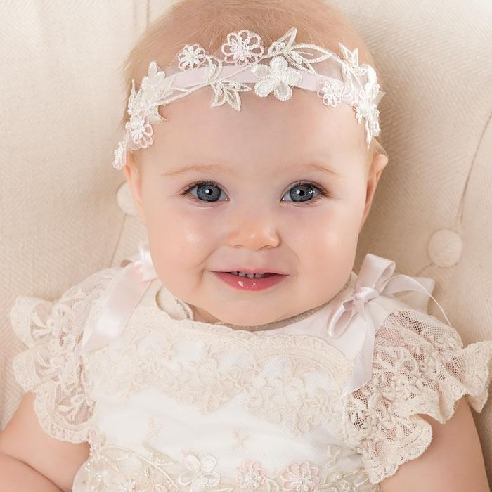 Baby Girl Velvet Headband - Jessica Christening   Baptism Collection ... 8885ce33837