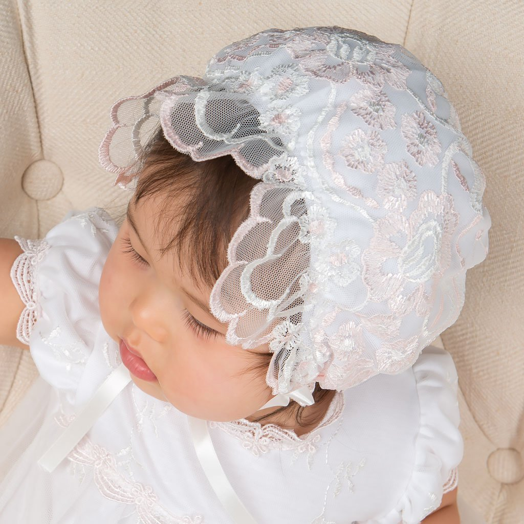 Joli Ruffled Lace Bonnet - Girls Bonnet