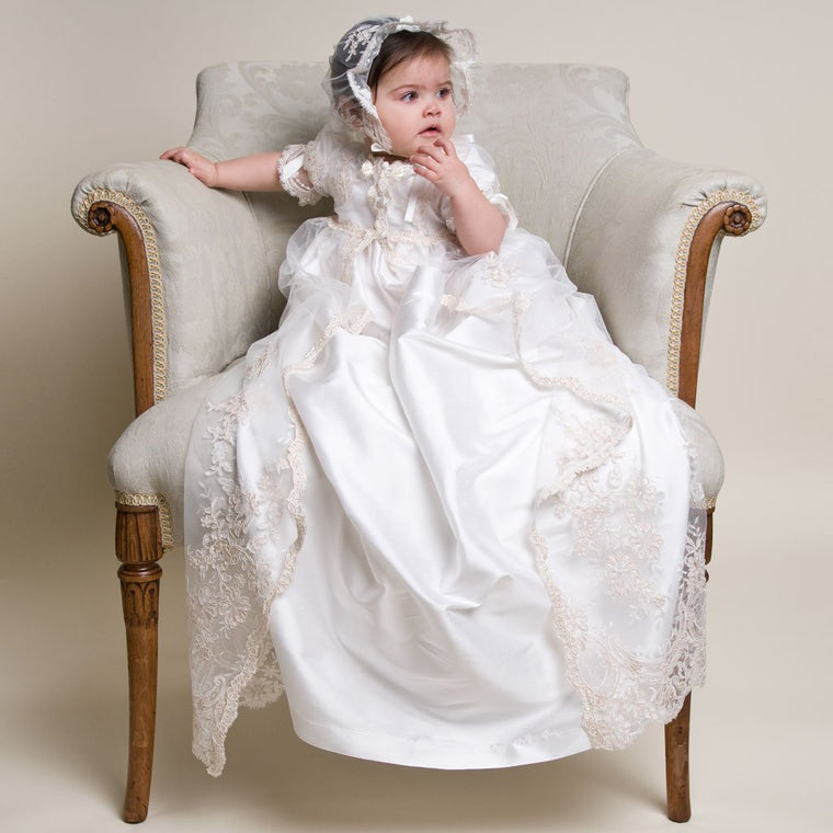 Kristina 2pc Christening Gown & Bonnet (3-6 Months Only)