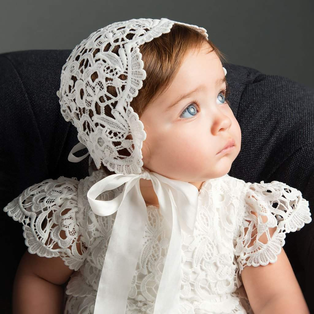 Lola Lace Christening Bonnet - Girls Bonnet