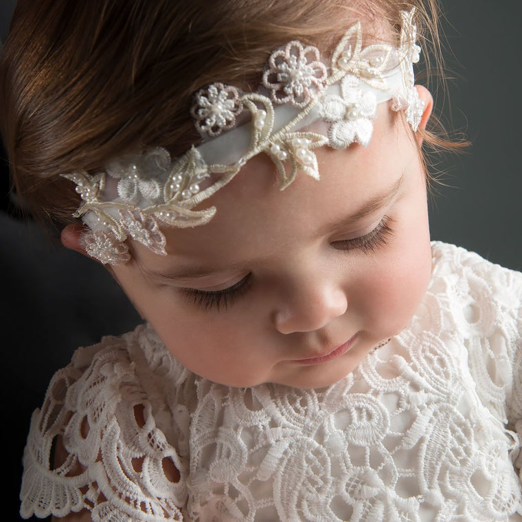 Baby Girl Christening   Baptism Headbands - ChristeningGowns.com ... 78b2d300592