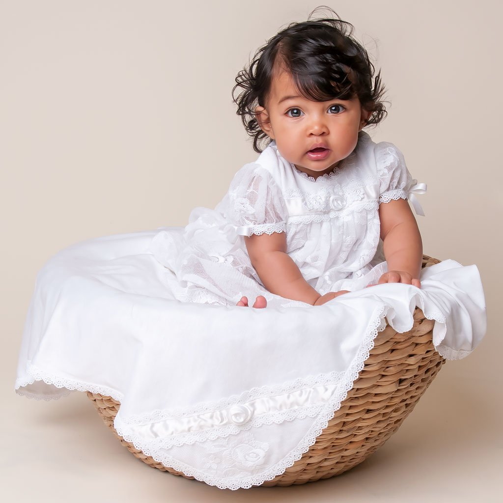 Louisa White Romper Dress - Girls Christening Dress