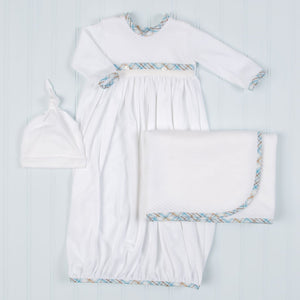 Mason Cotton Newborn Gown Set - Boys Layette Gown