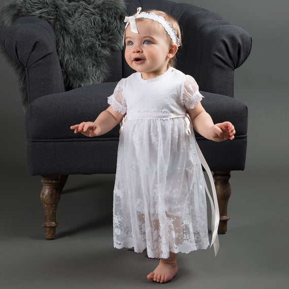 Melissa Christening Romper Dress (3-6 Months only) - Girls Christening Dress