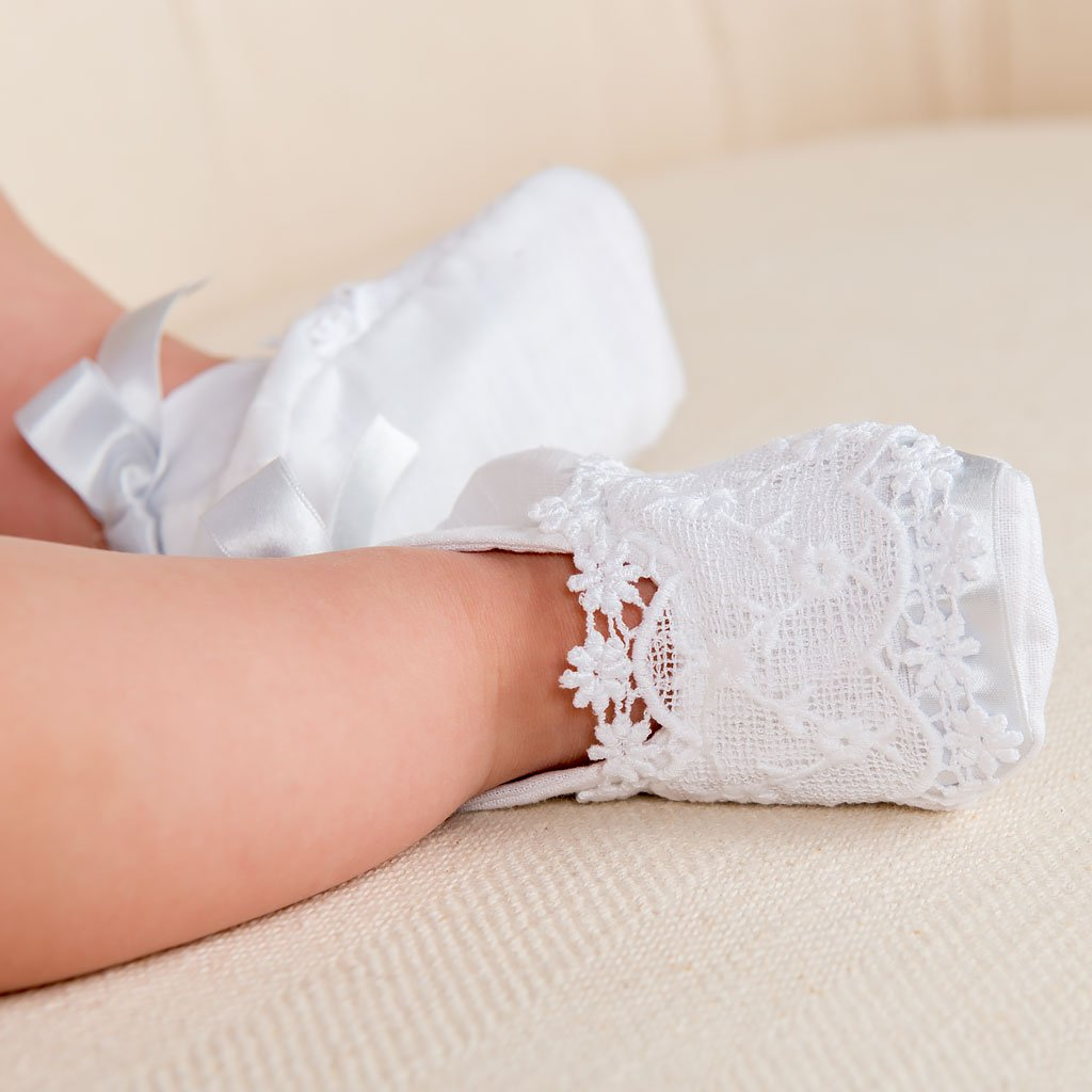 Olivia Linen Christening Booties - Girls Booties
