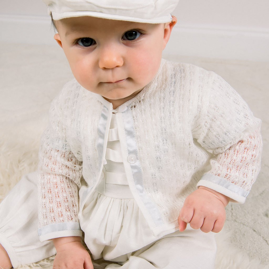 Owen Knit Christening Sweater - Boys Sweater