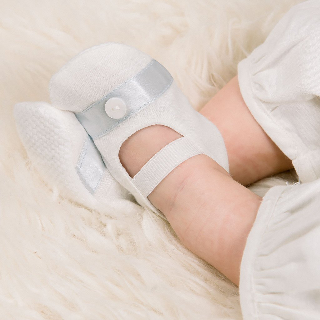 Owen Linen Christening Booties - Boys Booties