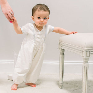 Owen Linen Christening Jumpsuit - Boys Christening Jumpsuit