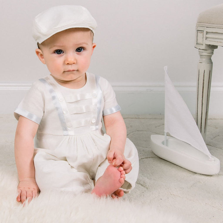 Owen Linen Christening Jumpsuit