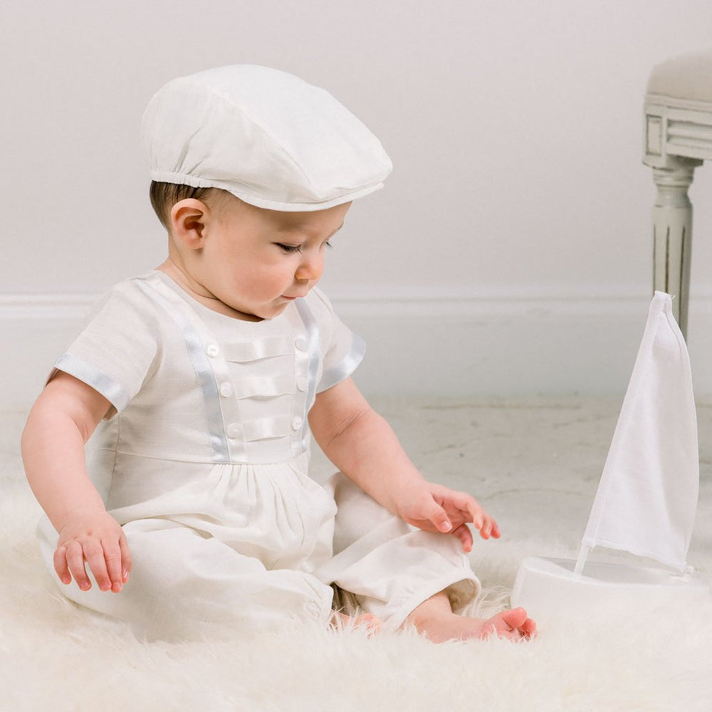 Owen Linen Newsboy Christening Cap - Boys Hat