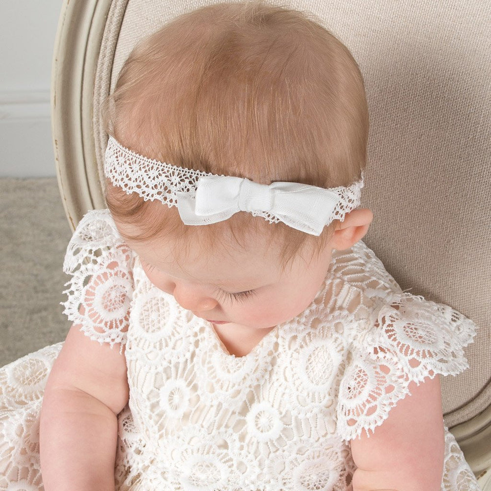 Poppy Lace Christening Headband -