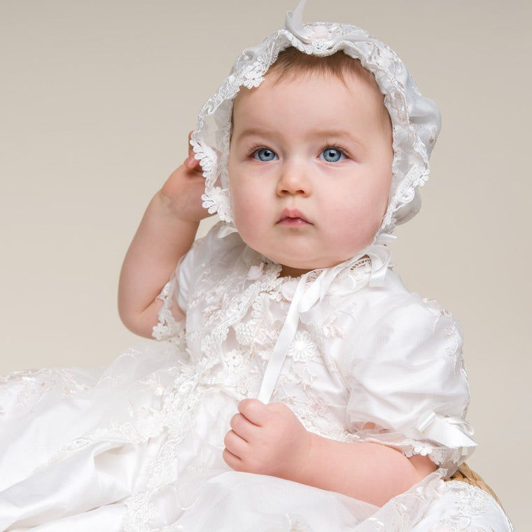 2ac33d821 Scarlett Lace Christening Gown & Bonnet - Girls Christening Gown