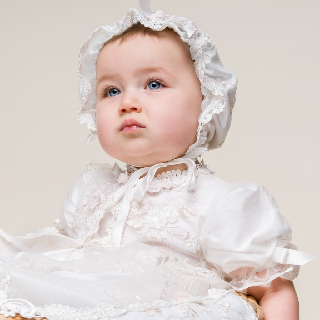 Scarlett Lace Christening Gown & Bonnet - Girls Christening Gown